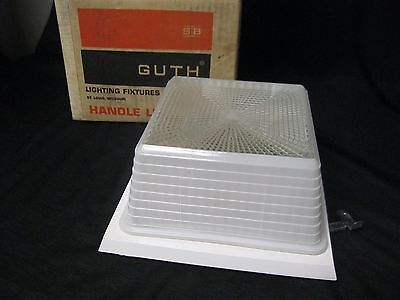 Ceiling Light Fixture by Edwin Guth w Box Glass Square Vintage Frosted Clear