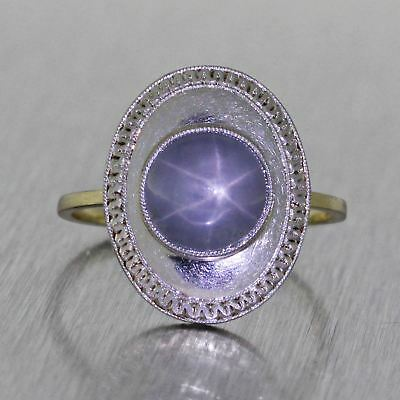 1920s Antique Art Deco 14k Gold Platinum Top 1.5ctw Purple Star Sapphire Ring