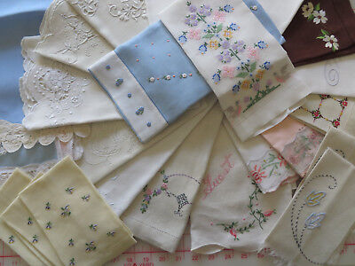 LOT 29 Linen / Cotton Tea Guest Hand Towels - Embroidered Pulled Thread Cut Work