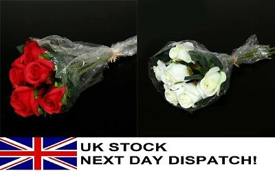 28cm Artificial Rose Silk Flowers Flower Floral Valentines Wedding Red or White