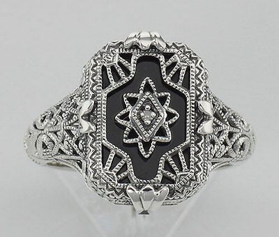 Antique Victorian Style Black Onyx with Diamond Filigree Ring in Sterling Silver