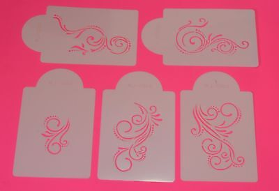 Scroll Set Stencils x 5 Cake Side Border Top Icing Decorating