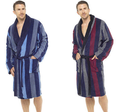d1b1d4382aad Mens Luxury Dressing Gown Robe Bathrobe Fleece Deluxe Thick Blue Black  Med/XXL