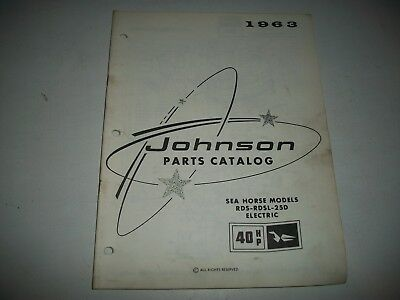 1963 Johnson 40 Hp Electric Outboard Sea Horse Parts List Catalog Rds-Rdsl-25D