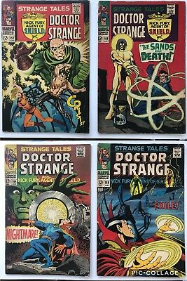 Strange Tales Lot Issues 157, 158, 164, 168 Nick Fury Doctor Strange Marvel 1968