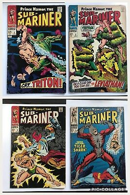 Submariner Lot Issues #2, 3, 4, and 5 Marvel 1968