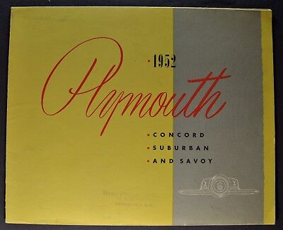 1952 Plymouth Brochure Folder Concord Suburban Savoy Excellent Original Canadian