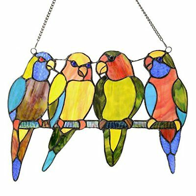 78 pcs Stained Glass Hanging Panel Suncatcher Tropical Birds Window Wall Gift