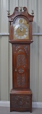 18TH Century carved oak grandfather clock Biggin Downham longcase clock