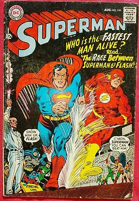 Superman 199 DC Silver Age 1967 First Superman and Flash race fn