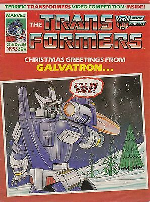 The Transformers #93  X-mas Issue Marvel UK (1986) Rare British Weekly Comic VF