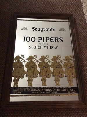 RARE Seagram's 100 Pipers Scotch Whiskey Bar Display Mirror Man Cave Scotland