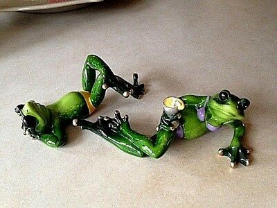 Frog Figurines Sunbathing Beach Lounging Couples Ganz Polystone