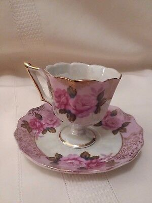 Lefton China Teacup & Saucer, White Luster with Pink Roses, 1423, Handpainted