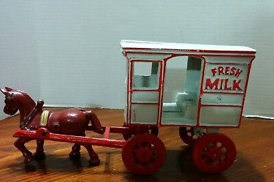 Vintage Cast Iron Horse Drawn Wagon Fresh Milk Carriage ~ Heavy