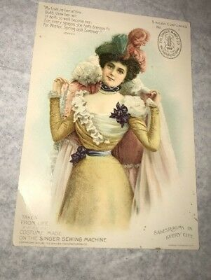 Rare Singer Sewing Machine Costume No 1 Girl Woman Victorian Trade Card Vintage