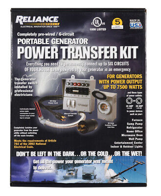 Reliance Controls Generator Power Transfer Kit 30 Amp Boxed