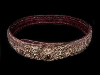 MAGNIFICENT ANTIQUE 1800s. LEATHER & SILVER BELT, AMAZING DECORATION!!!