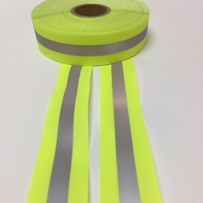 """REFLECTIVE TAPE LIME/SILVER SEW-ON 1.5"""" x 10 YARDS (30 FT)"""