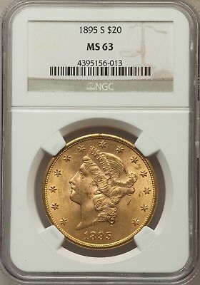 1895-S $20 Gold Liberty NGC MS63 Double Eagle-San Francisco Mint-No Reserve!