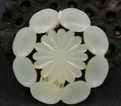 Chinese Exquisite Hand-carved flower carving Hetian jade Pendant
