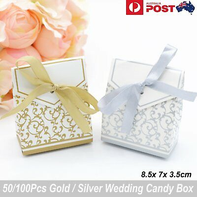 50/100Pcs Paper Candy Box Wedding Gift Bag Party Baby Shower Case Ribbon Bow DIY
