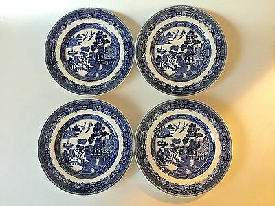 """4 Johnson Bros BLUE WILLOW England Bread Plate s 6 1/4"""" Crown Mark"""