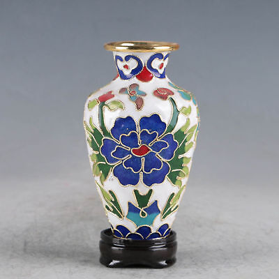 Collectable Delicate Chinese Cloisonne Hand-painted Flowers Vase Zw