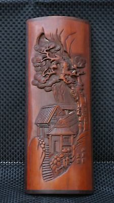 Chinese Exquisite Hand-carved Natural landscape carving bamboo Paperweight