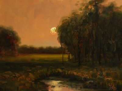 MAX COLE original oil painting signed landscape antique vintage tree moon water