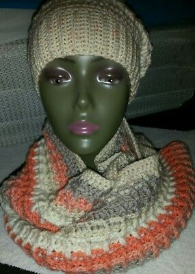 Hand Crocheted Womens Hat and Scarf