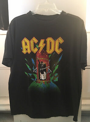 "VINTAGE AC/DC WORLD TOUR 1988 ""Blow up your video"" CONCERT BLACK T-SHIRT XL"