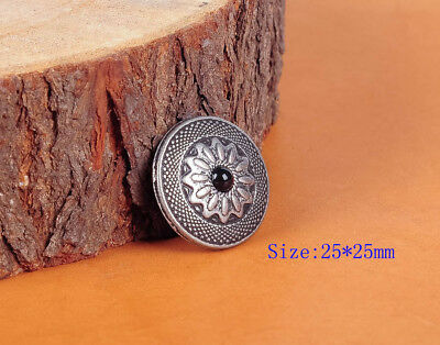 """10Pc 1"""" Retro Sliver Floral Western Tandy Leather Craft Wallet Conchos Screwback"""