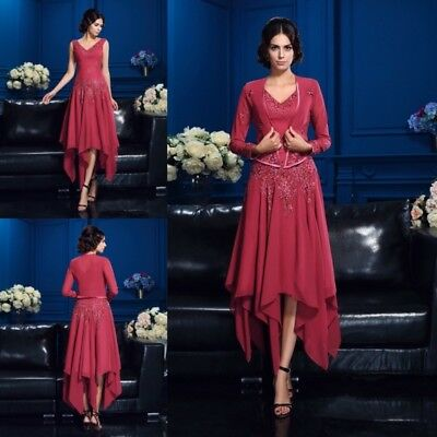 Red Mother Of the Bride Dresses With Long Sleeve Jacket Ankle Length Applique