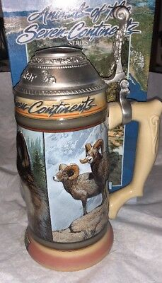 Budweiser Animals Of The Seven Continents Europe Lidded Stein! Anheuser Busch!