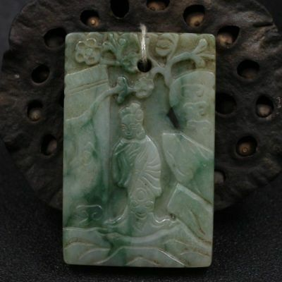 Chinese Exquisite Hand-carved beauty Plum blossom carving Jadeite jade Pendant