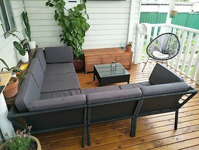 Outdoor corner lounge and table setting L shaped