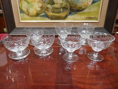 7 x VINTAGE PARTY MIXED LOT FOOTED ETCHED GLASS DESSERT BOWLS VARIOUS DESIGNS