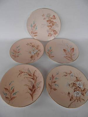 Set Of 5 Antique Floral Plates Paritally Hand Painted Vintage Wedding Party