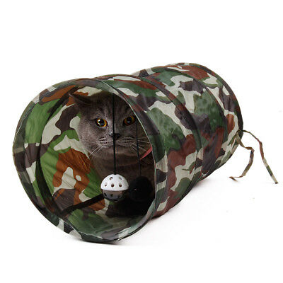 Pet Cat Tunnel Toys Collapsible Outdoors Camouflage Crinkle Kitten Fun Bell Toys