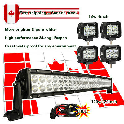 "22 inch LED Light Bar Curved + 4"" Cree Work Lights Off road Truck Jeep SUV 20/24"
