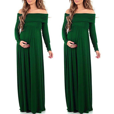 Women Cowl Neck Dress Pregnants Photography Props Off Shoulders Nursing Dress