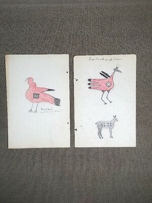 Antique Native American Indian Ledger Drawing New Mexico 1920s-30s