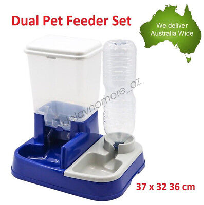 2 in 1 Pet Feeder Set Food Water Dispenser Dog Cat Dual Bottle Bowl Feeding NEW
