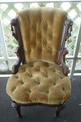 Antique French Louis XV or Victorian Arm Chair Carved Wood Velvet Wheels Front