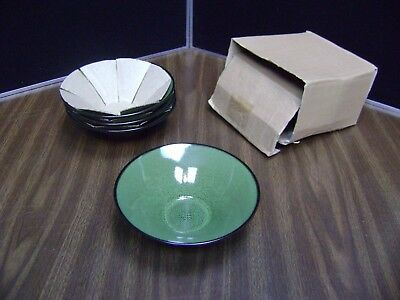 "4 Soup Cereal Bowl 7"" Fusion Wasabi Gabbay Gibson Green Speckled Brown Trim  NEW"