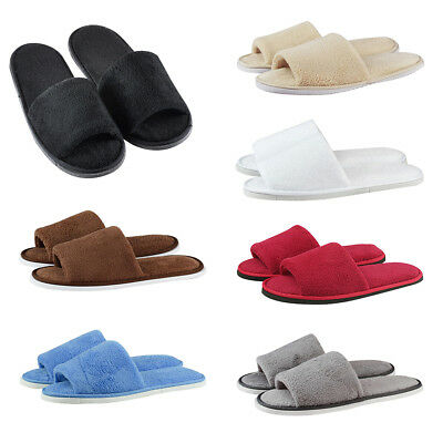 Unisex Women Men Home Indoor Slipper Open Toe Flat Warm Coral Velvet Shoes AU