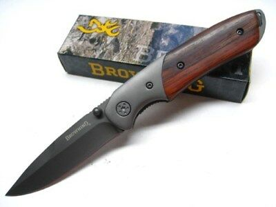 BROWNING Cocobolo Handle Straight TITANIUM Coated Folding Pocket Knife 0096 New!
