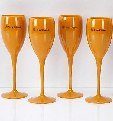 Veuve Clicquot VCP Yellow Label Acrylic Flute Glasses Brand New Set x 4