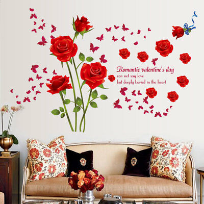 Removable Romantic Red Rose Quote Wall Sticker Decal DIY Delightful Decor Z